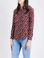 Sandro Paris Star Print Maroon Silk Button Down Blouse Shirt Top, Size 1 / S