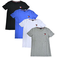 Tommy Hilfiger Womens T-shirt Short Sleeve Stretch Tee Heart Logo Crew Neck Top