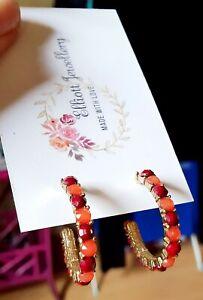 Red And Orange Half Hoop Earrings