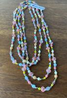 Vintage Jablonex Necklace Lariat Multi Sherbet Summer Colors Czech Glass Stone