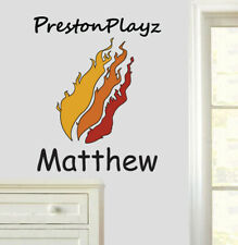 Personalised Preston Playz Logo Wall Stickers Bedroom Youtuber Minecraft Gamer