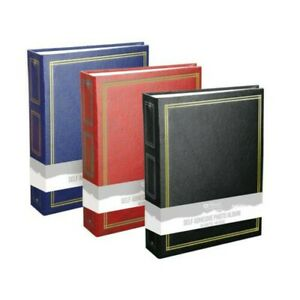 """Leather Effect Photo Album 40 Sheets 80 Self Adhesive Pages 6x11"""" Black Blue Red"""