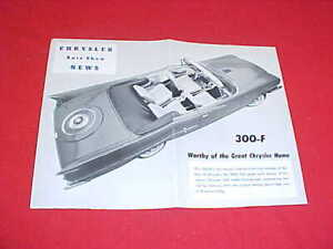 1960 CHRYSLER 300 F ORIGINAL AUTO SHOW NEWS DEALER BROCHURE PROSPEKT 60 300-F