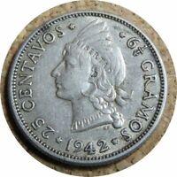 Dominican Republic 25 Centavos 1942 Philadelphia Mint   Princess WWII