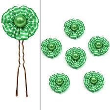 6 épingles pics cheveux chignon mariage mariée fleur vichy perle vert et  blanc