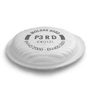 Moldex 8080 P3 RD Particulate Filters Harmful Dusts Fumes Aerosols - 1 Pair