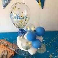 BALLOON CAKE TOPPER BLUE GOLD CONFETTI BIRTHDAY PARTY WEDDING ARCH GARLAND Vinyl