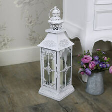 BIANCO ANTICO VINTAGE CANDELA LANTER Shabby Chic Vintage Matrimonio illuminazione da giardino