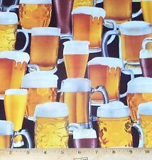 Beer Ale Fabric by Yards Mugs Pilsner Man Cave Cotton Benartex Kanvas
