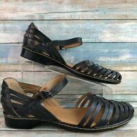 Softspots Woven Black Leather Casual Huarache Sandals Block Heel Womens 11W