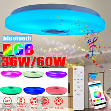LED Ceiling Light Music RGB bluetooth Speaker Lamp Dimmable W/Smart Remote