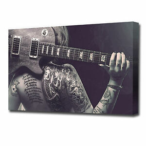 LARGE TATTOO GIRL AND GUITAR CANVAS PRINT EZ1294