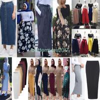 Women Long Skirt Maxi Bodycon Dubai Pencil Skirts High Waist Dress Muslim