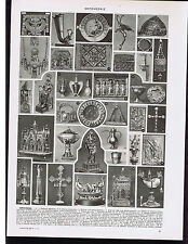 Silversmith Art - Metalwork -Crown, Sword etc -1930s French Illustrated Leaves