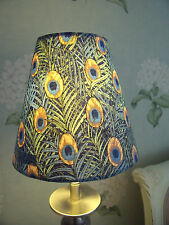 Handmade Candle Clip Lampshade Blue Peacock lawn cotton fabric