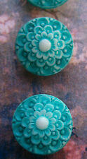 """Set of 4 Vintage 1/2""""Turquoise Lace Painted Glass Buttons~Pre WWII~new/old stock"""