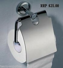 ROUND CHROME METAL TOILET ROLL PAPER HOLDER WITH COVER PHOENIC WHIRLPOOL PRAC
