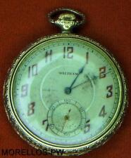 CIRCA 1929 AMERICAN WALTHAM  POCKET WATCH SIZE 12 OPEN FACE GOLD FILLED RUNNING