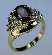 14kt Gold Garnet Ring with Diamond Clusters