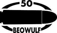 50 BEOWULF gun Rifle Ammunition Bullet exterior oval decal sticker car or wall