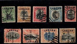 EDSROOM- 524 Labuan Sc J1-J9 Complete set Used 1901 Cat Val $25
