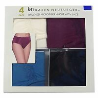 Karen Neuburger 4 Pk Womens Brushed Microfiber Hi Cut Panties Multi Color Small