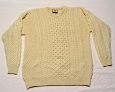 Carraig Donn womens sweater Aran Heavy Irish Wool Knit crew neck fisherman