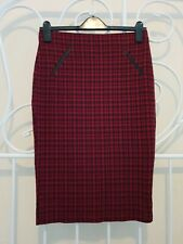 Womens Dorothy Perkins Red Tartan Jersey Skirt Size UK 10