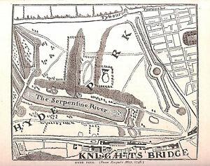 Hyde Park.Knightsbridge.1879.London.Antique.Genuine.Historical.Serpentine.Art