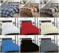 100% Brushed Cotton Flannelette Duvet Quilt Cover Plain Tartan Check Bedding Set