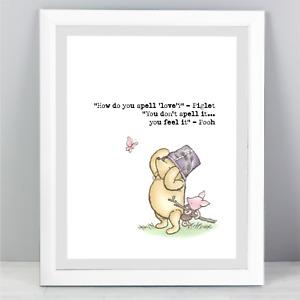 A4 Winnie The Pooh Quote Print Unframed Wall Art Minimalist