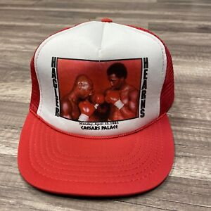 VTG 1985 MARVIN HAGLER HEARNS BOXING TRUCKER CAP HAT WHITE RED CAESARS PALACE