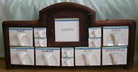 Dutch Apothecary Spice Rack Porcelain 12 Drawers in Wooden Box Antique Round Top