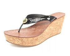 Tory Burch 3488Thora Wedge Thong Women Sandals Black Patent Leather Size 9.5 NEW