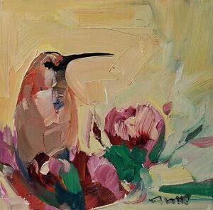 JOSE TRUJILLO Oil Painting IMPRESSIONISM CONTEMPORARY Hummingbird Floral ART