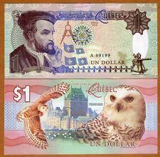 Quebec, Canada, $1, 2016, Private Issue, Essay UNC   Snow Owl, Jacques Cartier