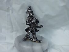 Pewter Clown Playing Sax On Marble Base
