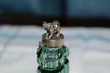 Reduced! Green glass perfume bottle - 'Black Forest style' solid silver bear top