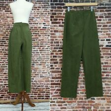 Vintage Velour Pants Women's Size XS Small Green Elastic Waist Straight Wide Leg