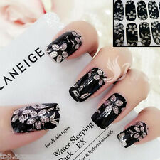 Black Sparkly Nail Art Wrap Full Cover Stickers Flower Floral #06104 Free P&P