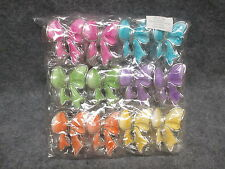 "(12) Pack Ribbons Bows Hair Clamp Claw Clips 6 Assorted Bright Colors 2.5"" x 2"""