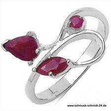 Eleganter, echter Rubin Ring-Sterling Silber-Rhodiniert-0,84 Karat