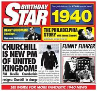 1940 BIRTHDAY GIFT - 1940 Birthday Star  Year Greeting Card and Compilation CD