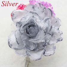 NEW 15CM Corsage Hairband Wrist Flower Wedding Party Prom Silver Rose Headdress