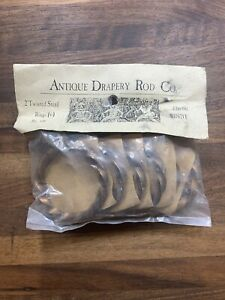 "NEW ANTIQUE DRAPERY ROD CO 2"" CURTAIN TWISTED RINGS BRONZE $26 SET OF 6"