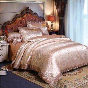 Gold Bed Duvet Cover Set Queen Silk Satin with Pillowcase Bedding Sets Dreams