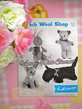 LARGE PRINT Vintage Knitting Pattern Teddy, Rabbit, Cat, Scottie Dog Toys