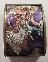 Vintage Enesco Foil & Stained Glass Angel Jewelry Trinket Box Manger Jesus Scene