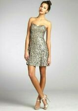 Wyatt Silver and Gold Sequin Silk Strapless Cocktail Dress. Size 2 US. New