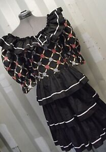 Cottagecore Call It Fancy Womens Black Square Dancing Dress Sz 12 Ruffles Twirl